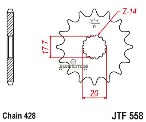 Pinhão Ataque JT428-14 Dentes Yamaha DTR 125