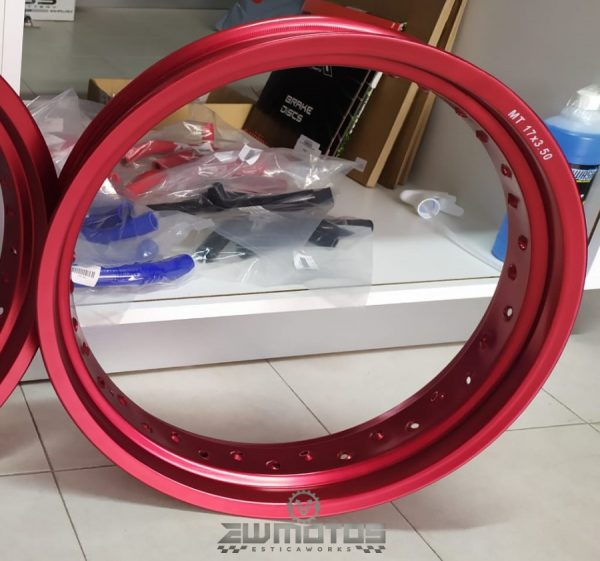 Aro Roda Supermotard 3.50X17 Alumínio Vermelho ITALY – 36F